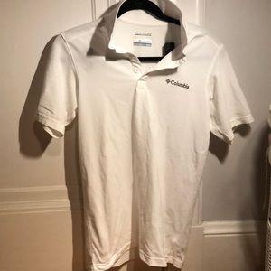 White Columbia collared shirt.